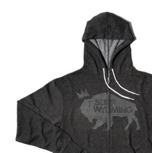 Load image into Gallery viewer, Unisex Surf Wyoming® King Bison Zip Hoodie - Deep Charcoal