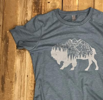 Women's Surf Wyoming® Bison Peak Tee - Indigo