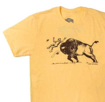 Men's SURF WYOMING® America's Petting Zoo! tee - Banana Yellow