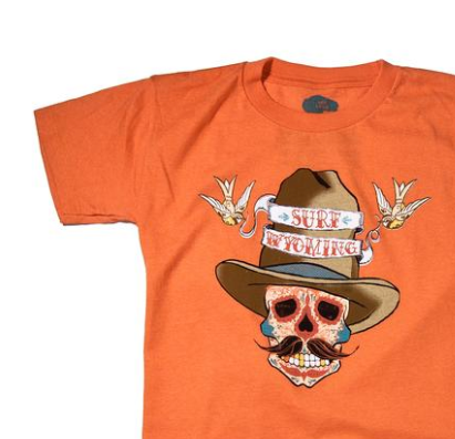 Surf Wyoming® Youth SUNDANCE KID - Dia de los Muertos Tee- orange