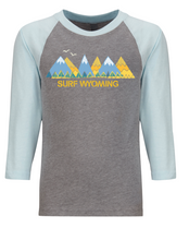 Load image into Gallery viewer, Surf Wyoming-Surf Wyoming® RANGIN' 3/4 Sleeve - Heather Grey/Lt. Blue-
