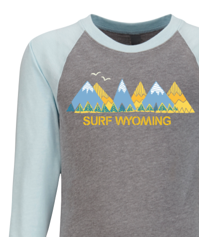 Surf Wyoming® RANGIN' 3/4 SLEEVE- HEATHER GREY/LIGHT BLUE