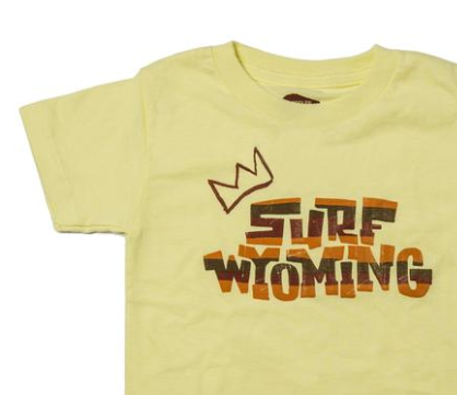 Surf Wyoming® Youth KING SCRIPT Tee - Bright Yellow