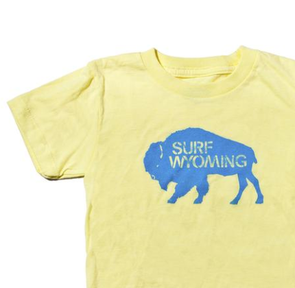 Youth Bison Logo Tee - Mellow Yellow/Baby Blue