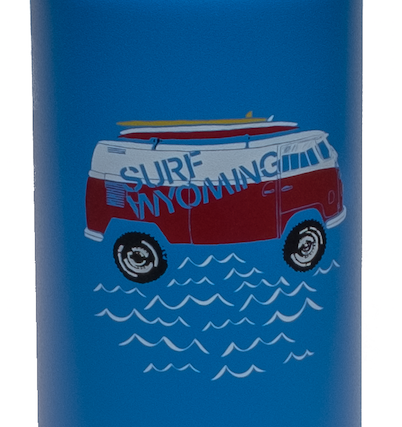 27oz. Surf Wyoming x Klean Kanteen - Bright Blue/Vanlife Surf Bus (Non- Insulated)
