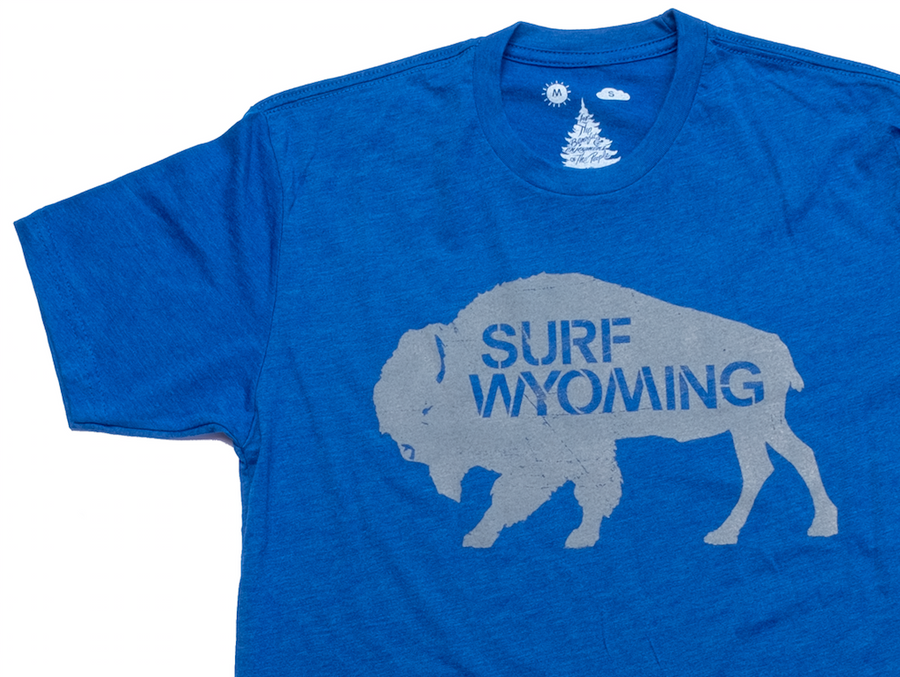 Men's SURF WYOMING® Bison Logo tee - Royal Blue/Grey