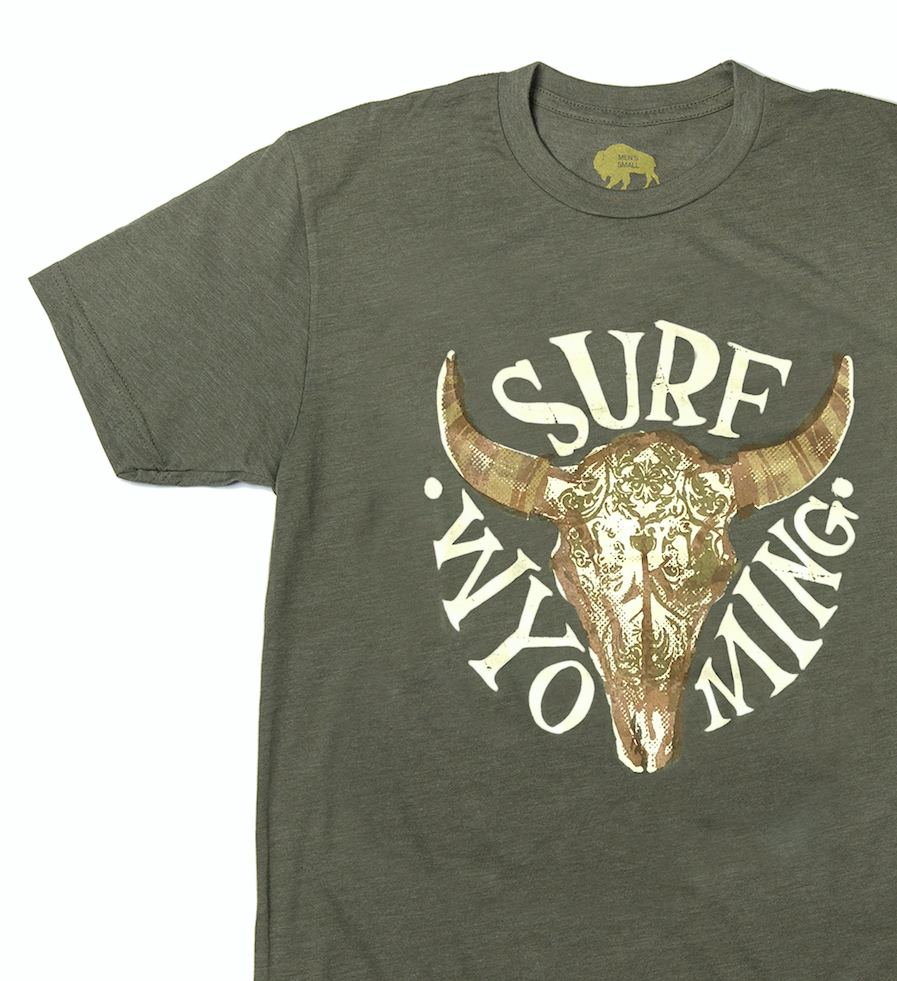 Men's SURF WYOMING® SPLASH BISON Tee- Olive