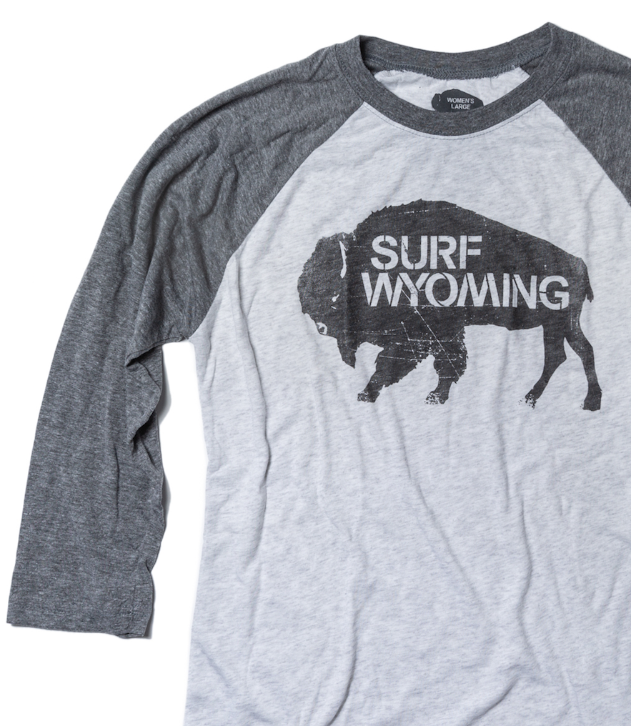 Women's Surf Wyoming® 3 Shades of Grey - Vintage Baseball Tee 3/4 sleeve - Grey
