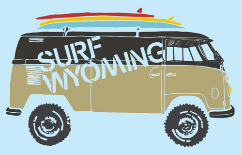 Surf Wyoming-Surf Wyoming® Surf Bus Vanlife Bus Sticker - CLEAR-