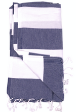 Load image into Gallery viewer, Surf Wyoming-BIARRITZ THROW • SURF WYOMING x THE RIVIERA TOWEL COMPANY • 5 COLOR OPTIONS-navy blue/white-