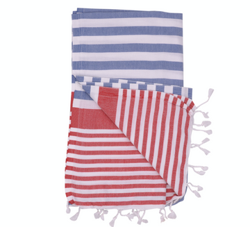 AMALFI THROW • SURF WYOMING x THE RIVIERA TOWEL COMPANY • denim/red/white