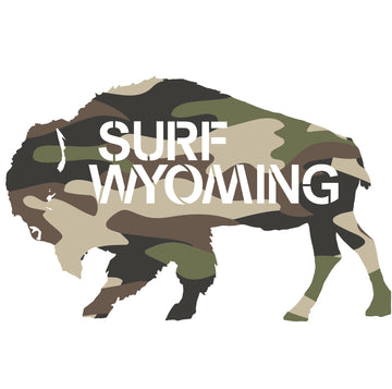 Surf Wyoming® Camo Bison Logo Sticker - green