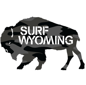 Surf Wyoming® Camo Bison Logo Sticker - black/grey