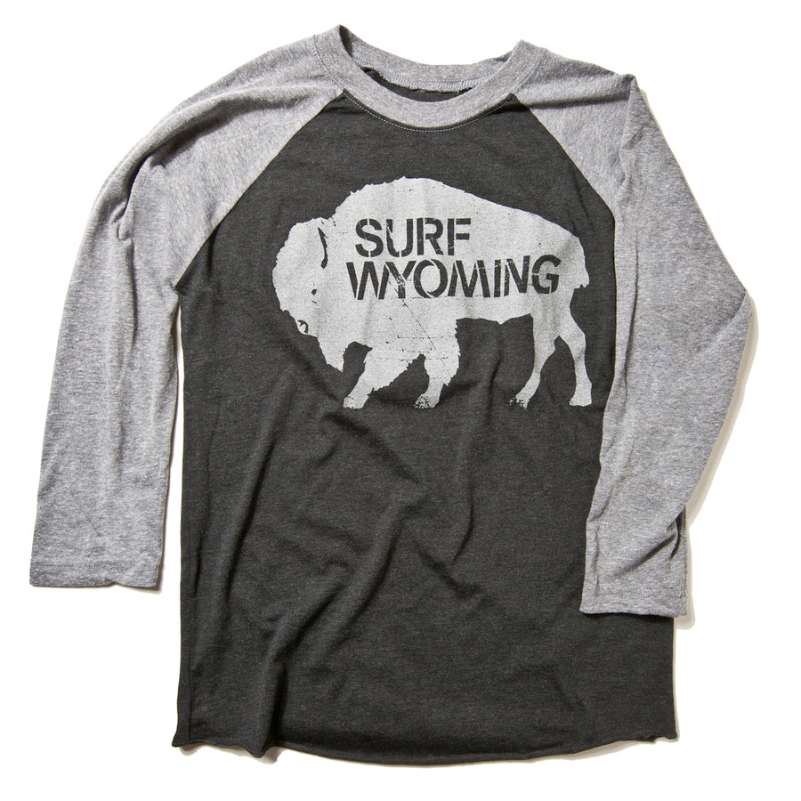 Surf Wyoming Vintage Black Baseball Tee - 3/4 sleeve