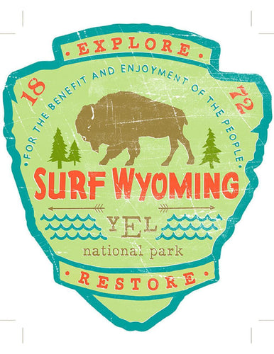 Surf Wyoming-Surf Wyoming® YEL National Park Badge Sticker-