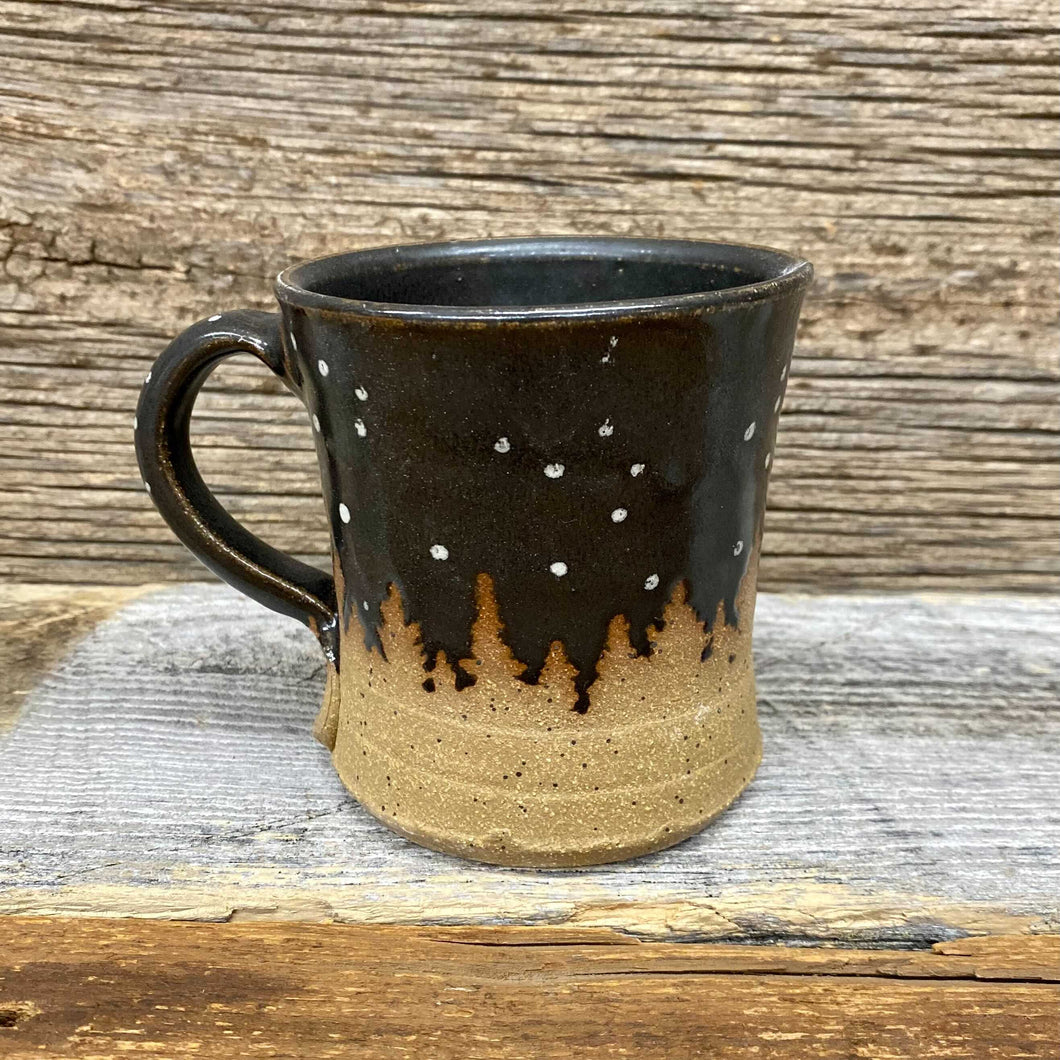Timberline Night Snow Handcrafted Mug - Brown Ombre
