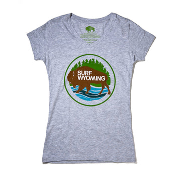 Women's Surf Wyoming® First Park Bison V-neck - Heathered Grey