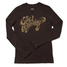 Load image into Gallery viewer, Surf Wyoming-W's Script Long Sleeve Tee - Bison Brown-