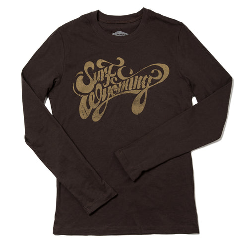 Surf Wyoming-W's Script Long Sleeve Tee - Bison Brown-