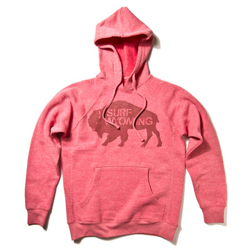Women's Surf Wyoming® Premium Bison Logo Pullover Hoodie - Pomegranate