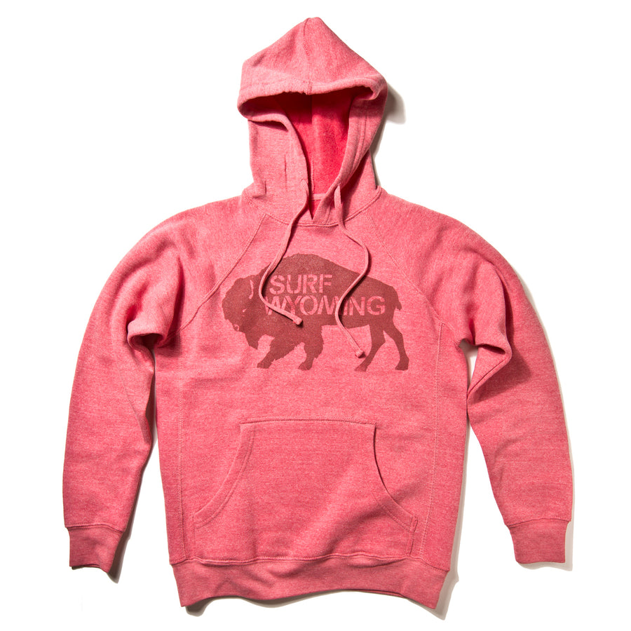 Women's Surf Wyoming® Premium Pomegranate Bison Pullover Hoodie - Pomegranate