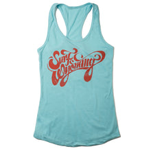 Load image into Gallery viewer, Surf Wyoming-W's Script Racerback Tank - Sky Blue/Coral-