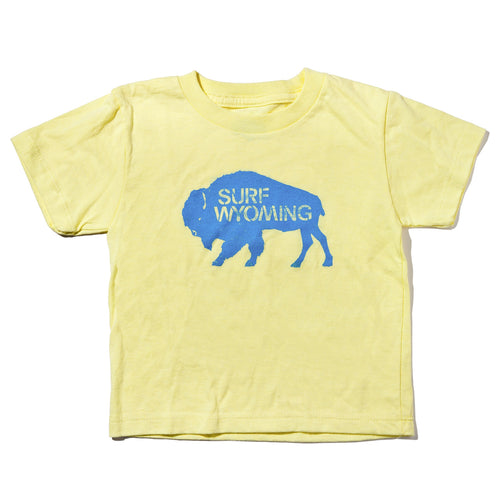 Surf Wyoming-Surf Wyoming® Youth BISON LOGO Tee - Mellow Yellow/Baby Blue-