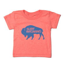 Load image into Gallery viewer, Surf Wyoming-Youth Bison Logo Tee - Neon Peach-