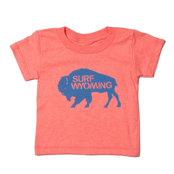 Youth Bison Logo Tee - Neon Peach