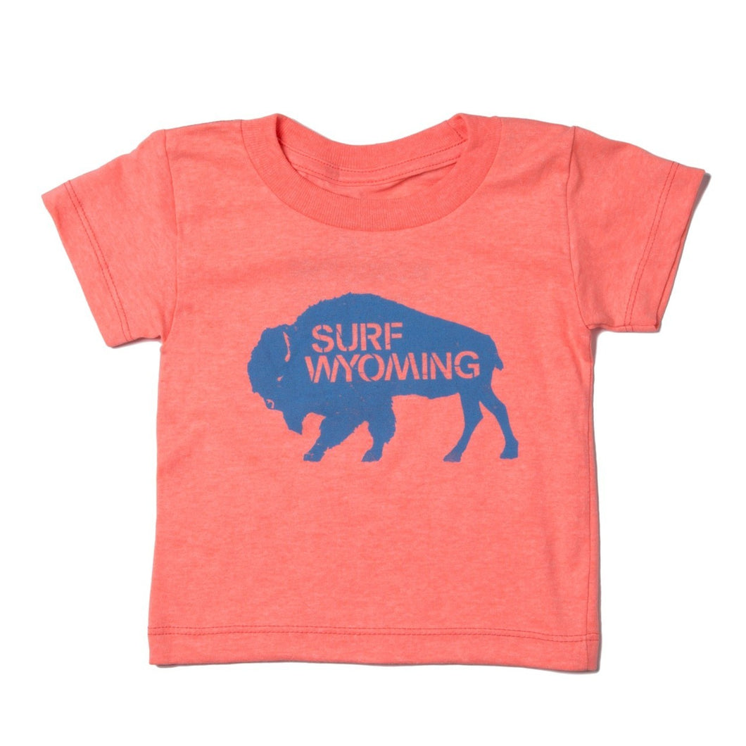 Surf Wyoming-Youth Bison Logo Tee - Neon Peach-