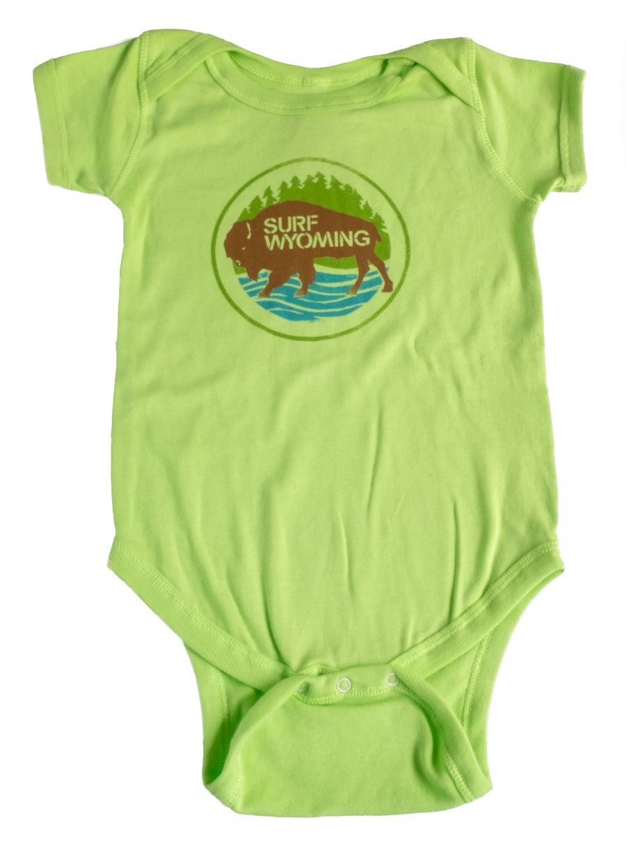 Surf Wyoming® INFANT FIRST PARK BISON Onesie - Key Lime