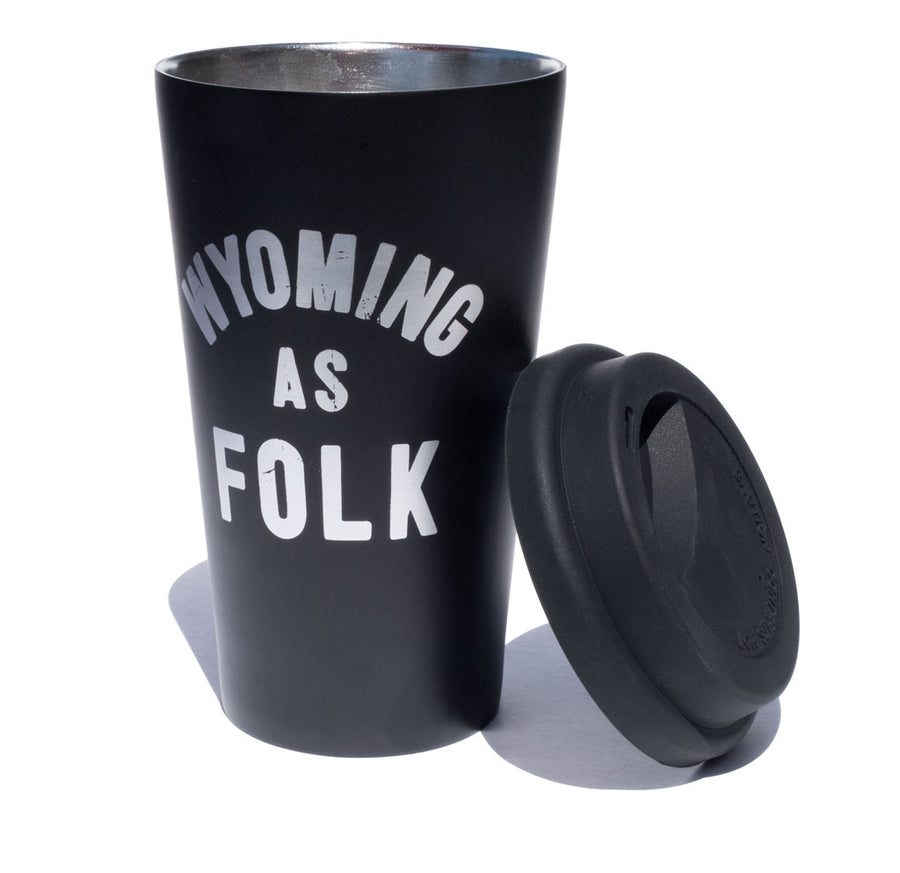 Wyoming as Folk 16oz Stainless Steel Camping Pint