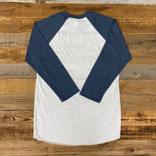 Load image into Gallery viewer, Unisex Soda Script Baseball Tee - White/Navy