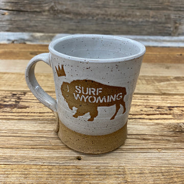 Handmade Surf Wyoming® King Bison ceramic MUG - speckled grey on clay