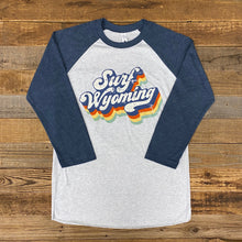 Load image into Gallery viewer, Surf Wyoming-Unisex Soda Script Baseball Tee - White/Navy-