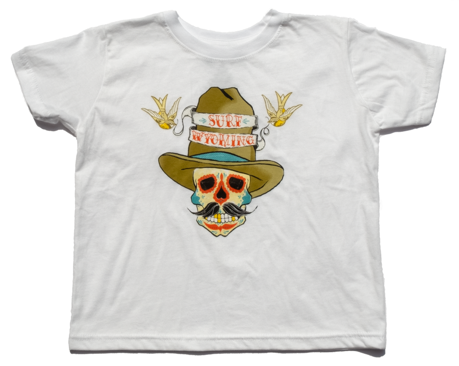 Surf Wyoming® Youth SUNDANCE KID Tee - Dia de los Muertos - white