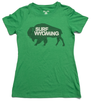 Women's Surf Wyoming® Bison Tee - Lander Green