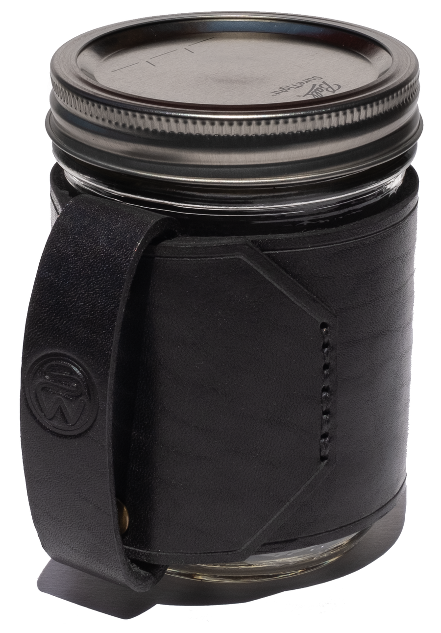 Surf Wyoming Leather Travel Mug - Black