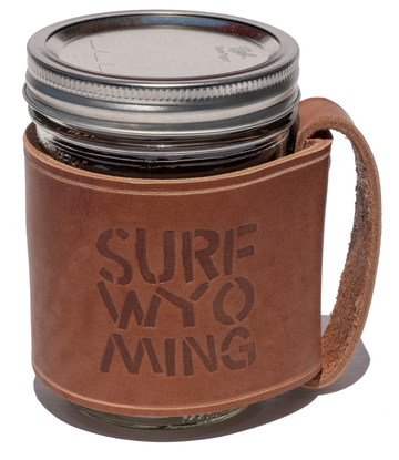 Surf Wyoming Leather Travel Mug - Brown