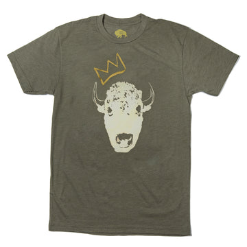 Mens Red Bison King Bison Collab Tee - Military