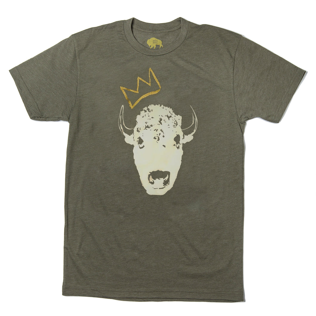 Surf Wyoming-Mens Red Bison King Bison Collab Tee - Military-