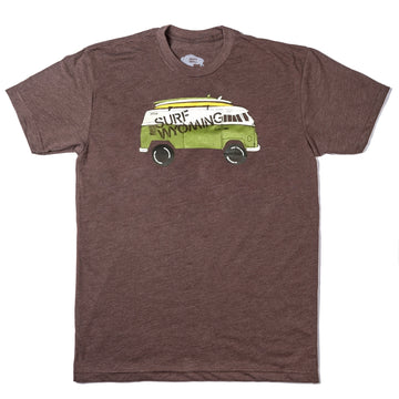 Men's Surf Wyoming® Vanlife Surf Bus Tee - Chocolate / Pea Green