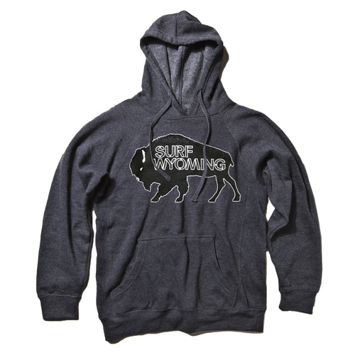 Surf Wyoming-UNISEX Surf Wyoming® Outline Bison Logo Premium Pullover Hoodie - Dark Charcoal-