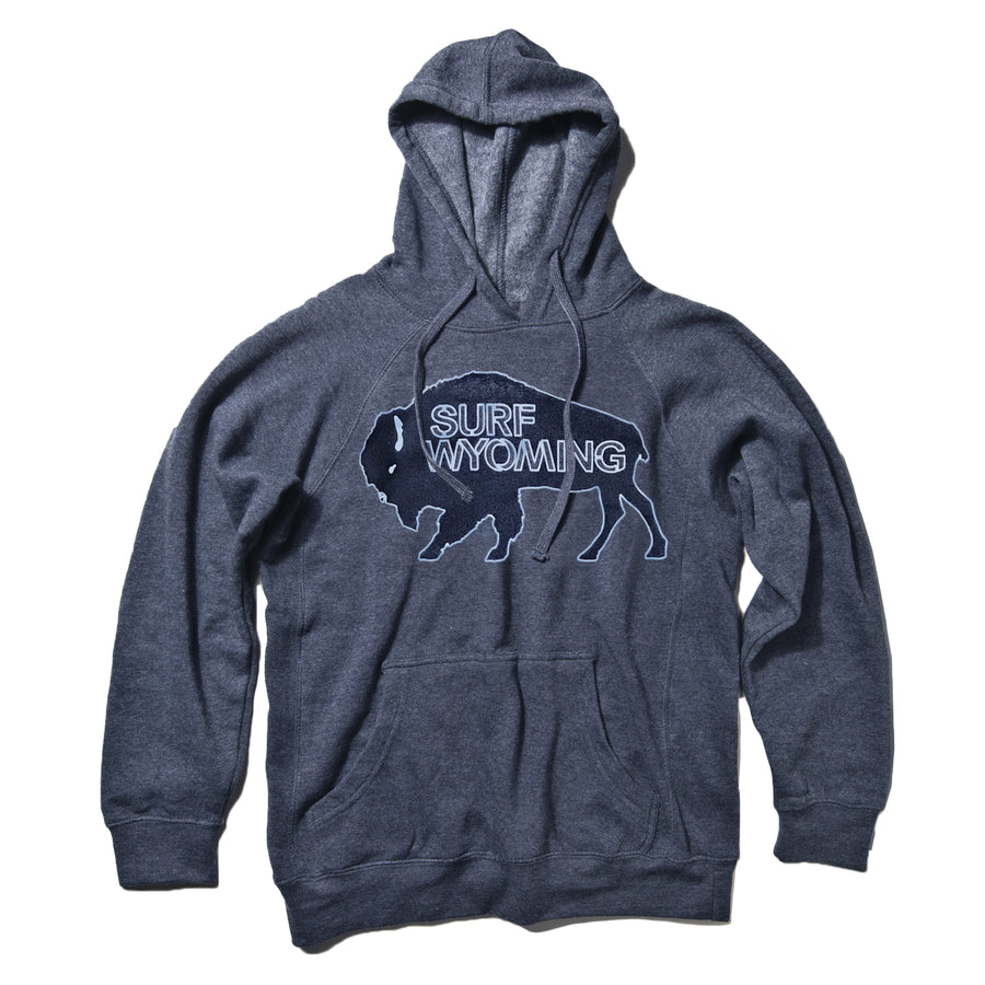 UNISEX Surf Wyoming® Outline Bison logo Premium Pullover Hoodie - Navy Heather