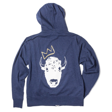 **RED BISON STUDIO COLLAB** UNISEX Surf Wyoming® King Bison Zip Hoodie - Navy