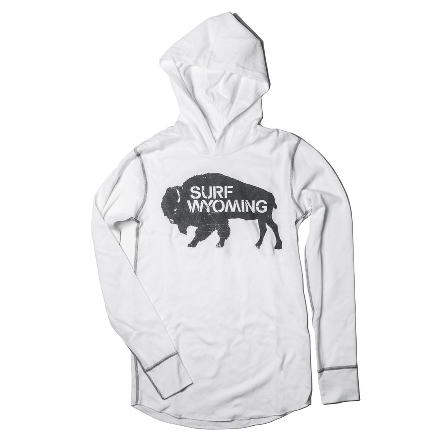 Unisex Surf Wyoming® Hoodie Thermal - White/Charcoal