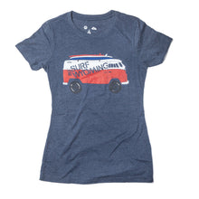 Load image into Gallery viewer, Surf Wyoming-Women's Surf Wyoming® Vanlife Bus Tee - Navy-