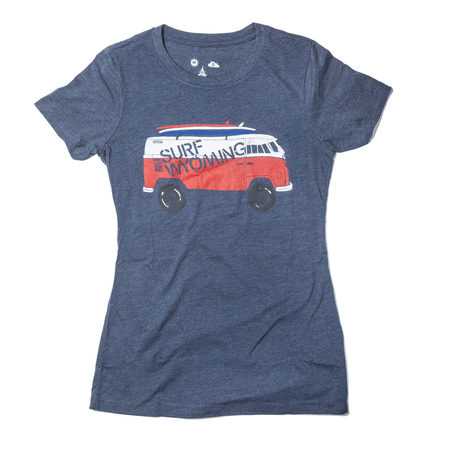 Women's Surf Wyoming® Vanlife Bus Tee - Navy
