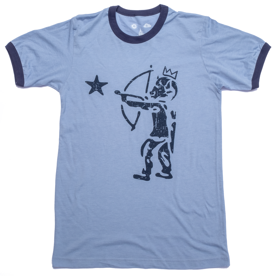 Men's SURF WYOMING® Shooting Star Ringer Tee - Light Sky Blue