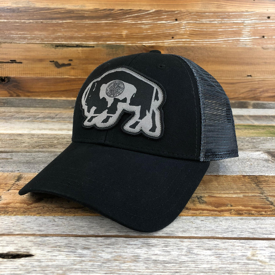 Surf Wyoming® Flag Bison Trucker Hat - THE BLACKOUT
